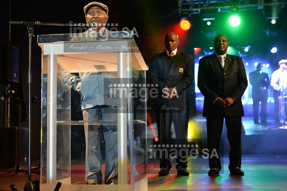 DURBAN, SOUTH AFRICA - JUNE 21: Dr Sam Ramsamy, officially opens the championships watched by Aleck Skhosana (ASA president) and Hamad Kalkaba Malboum (CAA President) during the CAA 20th African Senior Championships Opening Ceremony at Growth Point Kings Park stadium on June 21, 2016 in Durban, South Africa. (Photo by Roger Sedres/Gallo Images)