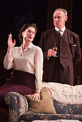© Licensed to London News Pictures. 23/04/2012. London, England. Anna Chancellor as Millie Crocker-Harris and Nicholas Farrell as Andrew Crocker-Harris. Actors Anna Chancellor and  Nicholas Farrell star in a double bill - South Downs by David Hare, directed by Jeremy Herrin and The Browning Version by Terence Rattigan, directed by Angus Jackson at the Harold Pinter Theatre. Photo credit: Bettina Strenske/LNP