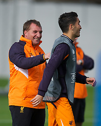 LIVERPOOL, ENGLAND - Wednesday, October 3, 2012: Liverpool's manager Brendan Rodgers and Nuri Sahin during a training session at Melwood Training Ground ahead of the UEFA Europa League Group A match against Udinese Calcio. (Pic by David Rawcliffe/Propaganda)