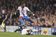 Everton midfielder Ross Barkley  tackles Crystal Palace midfielder Yannick Bolasie  during the Barclays Premier League match between Everton and Crystal Palace at Goodison Park, Liverpool, England on 7 December 2015. Photo by Simon Davies.