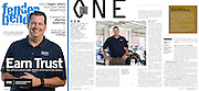 Editorial portraits of an automotive industry  business owner in a magazine article tear sheet. Brand Marketing through published articles about the business of collision repair. Corporate headshot photography in Dallas, Texas.