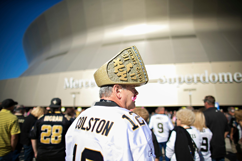 NEW ORLEANS, LA - OCTOBER 5:  Fans gather outside the Mercedes-Benz Superdome before a game between the New Orleans Saints and the Tampa Bay Buccaneers on October 5, 2014 in New Orleans, Louisiana.  The Saints defeated the Buccaneers 37-31.  (Photo by Wesley Hitt/Getty Images) *** Local Caption ***
