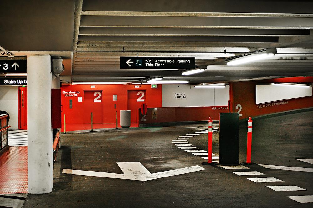 Sutter-Stockton parking garage interior. San Francisco, California.
