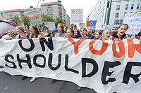 """20 SEP 2019, BERLIN/GERMANY:<br /> Demonstratinnen mit Transparent """"OUR FUTURE ON YOUR SHOULDERS"""", Fridays for Future Demonstration für Massnahmen zur  Begrenzung des Klimawandels, Behrenstrasse<br /> IMAGE: 20190920-01-032<br /> KEYWORDS: Demo, Demonstrant, Protest, Protester, Demonstration, Klima, climate, change, Maedchen, Mädchen, Frauen, Schueler, Schuelerinnen, Schüler, Schülerinnen"""
