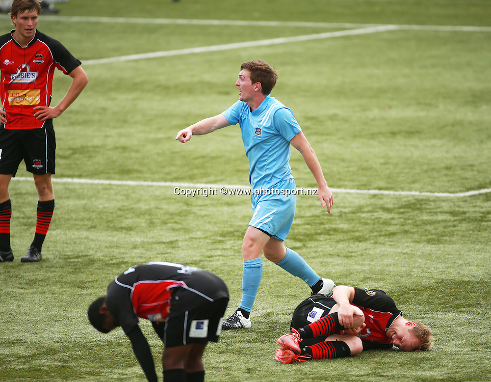 Cory Chettleburgh of Hawkes Bay remonstrates towards the referee after a clash with Andreas Wilson of Canterbury during the ASB Premiership Football game between Canterbury United v Hawkes Bay United held at ASB Football Park. 17 January 2016. Photo: Joseph Johnson / www.photosport.nz