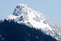 The west slope of 5991 ft. Mount Index in winter is located on the west side of the Cascade Mountain Range in the Mt Baker-Snoqualmie National Forest just south of the Skykomish River in Washington, USA.
