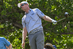 May 2, 2019 - Charlotte, NC, U.S. - CHARLOTTE, NC - MAY 02: David Hearn tries to influence his drive with body language on the 15th tee box during the first round of the Wells Fargo Championship at Quail Hollow on May 2, 2019 in Charlotte, NC. (Photo by William Howard/Icon Sportswire) (Credit Image: © William Howard/Icon SMI via ZUMA Press)