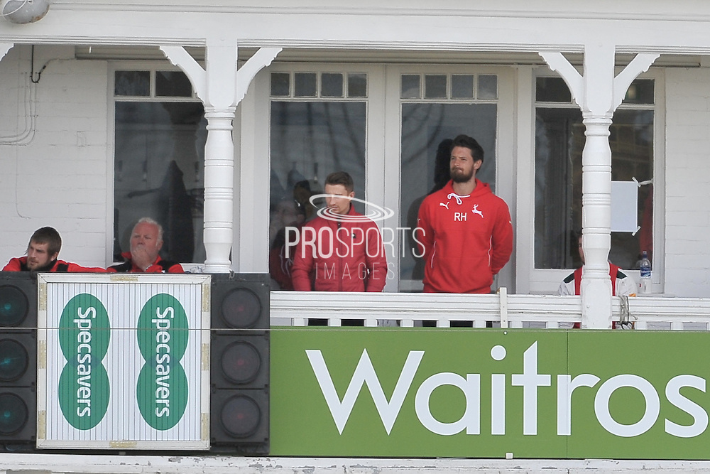 James Taylor looks on from the players balcony during the Specsavers County Champ Div 1 match between Nottinghamshire County Cricket Club and Yorkshire County Cricket Club at Trent Bridge, West Bridgford, United Kingdon on 4 May 2016. Photo by Simon Trafford.