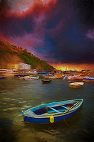 """The brave little boat faces threatening skies during a dramatic sunset over Marina Grande Sorrento - Painting""...<br />