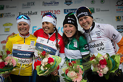 Lotta Lepistö (FIN) and Carmen Small (USA) of Cervélo-Bigla Cycling Team, Annemiek van Vleuten (NED) of Orica-AIS Cycling Team and Thalita de Jong (NED) of Rabo-Liv Cycling Team on the podium of the first, 106.9km road race stage of Elsy Jacobs - a stage race in Luxembourg, in Steinfort on April 30, 2016
