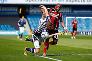 Mark Beevers of Millwall and Tokelo Rantie of Bournemouth in an early battle during the Sky Bet Championship match at The Den, London<br /> Picture by David Horn/Focus Images Ltd +44 7545 970036<br /> 03/05/2014