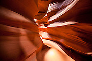 Sculpted sandstone walls deep in Antelope Canyon, Arizona