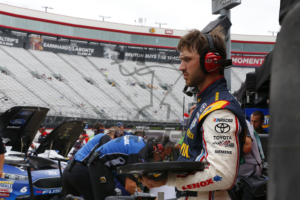 August 18, 2017 - Bristol, Tennessee, USA: Daniel Suarez (19) hangs out in the garage during practice for the Bass Pro Shops NRA Night Race at Bristol Motor Speedway in Bristol, Tennessee.