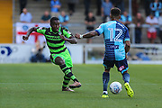 Forest Green Rovers Dale Bennett(2) passes the ball during the EFL Sky Bet League 2 match between Wycombe Wanderers and Forest Green Rovers at Adams Park, High Wycombe, England on 2 September 2017. Photo by Shane Healey.