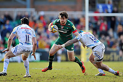 Matt Smith of Leicester Tigers takes on the Chiefs defence - Photo mandatory by-line: Patrick Khachfe/JMP - Mobile: 07966 386802 28/03/2015 - SPORT - RUGBY UNION - Leicester - Welford Road - Leicester Tigers v Exeter Chiefs - Aviva Premiership