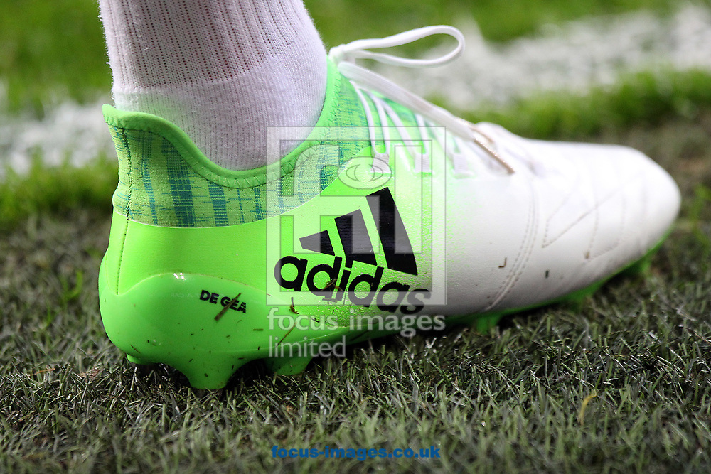 The boot of David de Gea of Manchester United before the UEFA Europa League match at Constant Vanden Stock Stadium, Anderlecht<br /> Picture by Paul Chesterton/Focus Images Ltd +44 7904 640267<br /> 13/04/2017