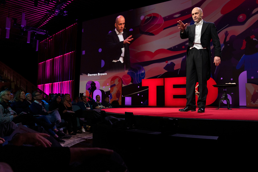 Derren Brown speaks at TED2019: Bigger Than Us. April 15 - 19, 2019, Vancouver, BC, Canada. Photo: Bret Hartman / TED