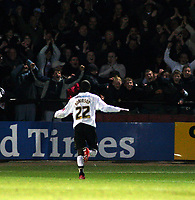 Photo: Mark Stephenson/Sportsbeat Images.<br /> Hereford United v Hartlepool United. The FA Cup. 01/12/2007.Hereford's Theo Robinson celebrates his goal with the fans