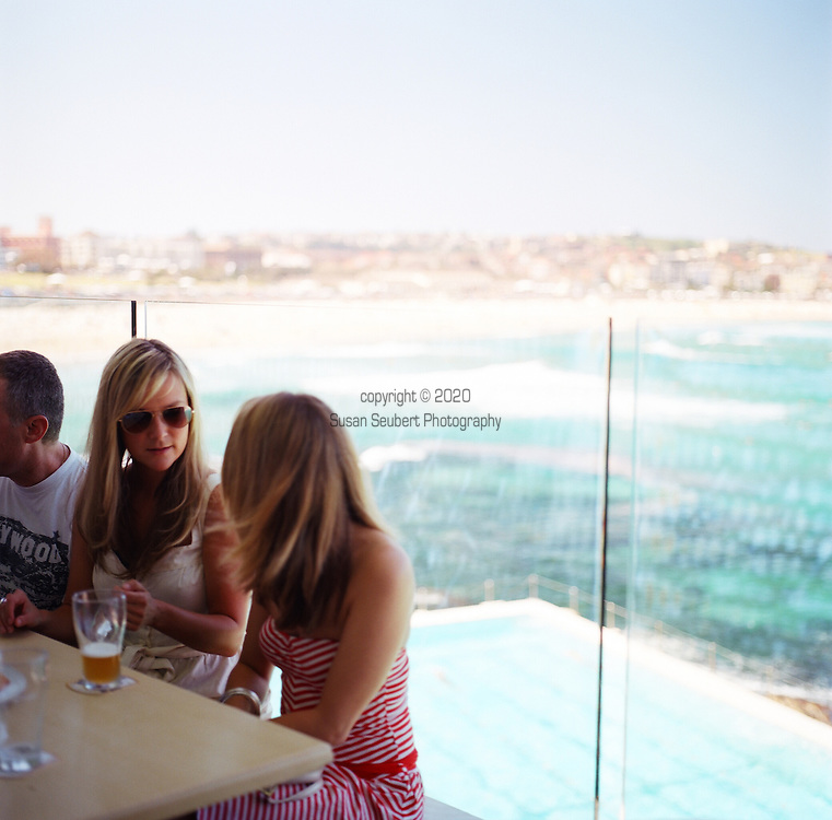 Bondi Icebergs Swimming Club, Sydney, NSW, Australia. Although the Swimming Club is a private club, the public need just sign in to enjoy the food, bar and incredible views of the swimming pool and Bondi Beach.