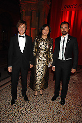 Left to right, ANDY & PATTI WONG and EVGENY LEBEDEV at a dinner held at the Natural History Museum to celebrate the re-opening of their store at 175-177 New Bond Street, London on 17th October 2007.<br />