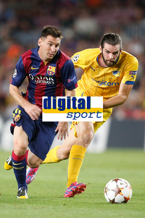 Lionel Messi of Barcelona and Tiago Gomes of Apoel during the UEFA Champions League, Group F, football match between FC Barcelona and Apoel FC on September 17, 2014 at Camp Nou stadium in Barcelona, Spain. Photo Bagu Blanco / DPPI