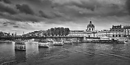 The Institut de France and the Pont des Arts seen from the Louvre side of the Seine River.  Aspect Ratio 1w x 0.5h.