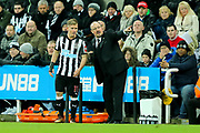 Newcastle United manager Rafael Benitez issues instructions to Matt Ritchie (#11) of Newcastle United during the Premier League match between Newcastle United and Leicester City at St. James's Park, Newcastle, England on 9 December 2017. Photo by Craig Doyle.