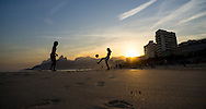 Young men play football on Ipanema beach, Rio de Janeiro, Brazil. Picture by Andrew Tobin/Focus Images Ltd +44 7710 761829<br /> 27/06/2014
