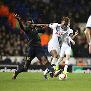 Tottenham Hotspur midfielder Joshua Onomah getting tackled during the Europa League match between Tottenham Hotspur and Monaco at White Hart Lane, London, England on 10 December 2015. Photo by Matthew Redman.