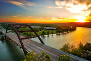 Long exposure of Pennybacker Bridge at sunset