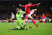 Jak Alnwick of Port Vale FC saves from Jacob Murphy of Coventry City FC during the Sky Bet League 1 match between Port Vale and Coventry City at Vale Park, Burslem, England on 7 February 2016. Photo by Mike Sheridan.