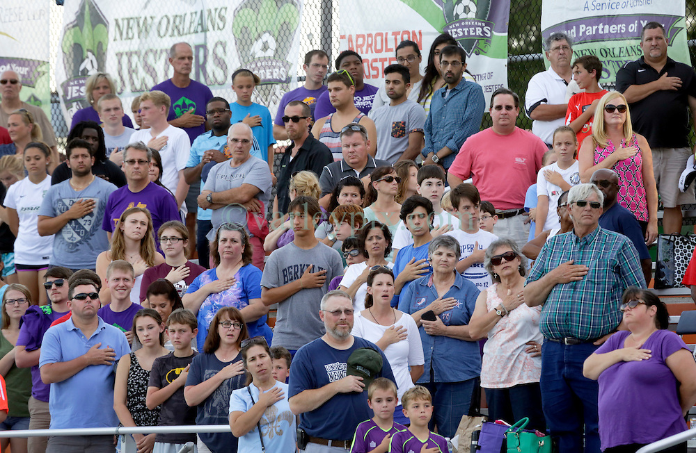 27 June 2015. New Orleans, Louisiana.<br /> National Premier Soccer League. NPSL. <br /> Jesters 1- Georgia Revolution 5.<br /> Jesters supporters as the New Orleans Jesters prepare to play the Georgia Revolution in the Pan American Stadium. <br /> Photo&copy;; Charlie Varley/varleypix.com