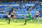 Omar Bogle (27) of Cardiff City shoots at goal beating Darren Randolph (23) of Middlesbrough but misses the target during the EFL Sky Bet Championship match between Cardiff City and Middlesbrough at the Cardiff City Stadium, Cardiff, Wales on 21 September 2019.