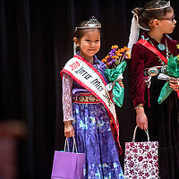 Kamri Mae Hubbell smiles after being awarded Little Miss Saint Michael Indian School during the 2018 Saint Michael Indian School Princess Pageant in St. Michael Thursday.