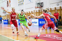 Teja Oblak of Slovenia between Nina Premasunac and Tea Buzov of Croatia during friendly basketball match between Women National teams of Slovenia and Croatia before FIBA Eurobasket Women 2017 in Prague, on June 1, 2017 in Celje, Slovenia. Photo by Vid Ponikvar / Sportida