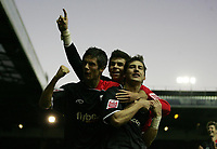 Photo: Paul Thomas.<br /> Leeds United v Southampton. Coca Cola Championship. 18/11/2006.<br /> <br /> Southampton goal scorer Rudi Skacel (R) celebrates his goal with Gareth Bale (C) and Andrew Surman (L).