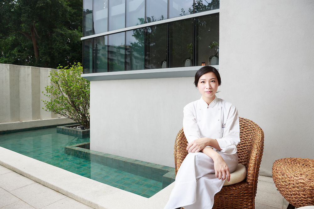 Chef Chen in the courtyard at Le Mout restaurant. Lanshu Chen, chef at Le Mout in Taiwan, was named this year's best female chef of Asia by S. Pellegrino and Acqua Panna's Asia's 50 Best Restaurants list 2014. Craig Ferguson for The Wall Street Journal.<br /> SLUG - Chen