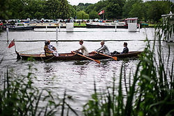 © Licensed to London News Pictures. 28/06/2017. London, UK. Day one of the Henley Royal Regatta, set on the River Thames by the town of Henley-on-Thames in England.  Established in 1839, the five day international rowing event, raced over a course of 2,112 meters (1 mile 550 yards), is considered an important part of the English social season. Photo credit: Ben Cawthra/LNP