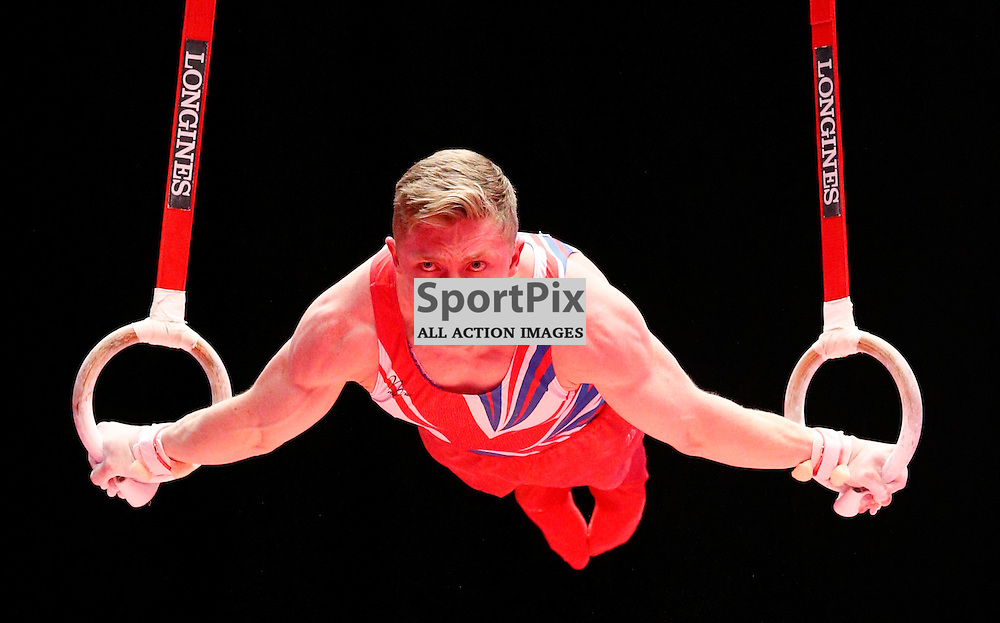 2015 Artistic Gymnastics World Championships being held in Glasgow from 23rd October to 1st November 2015.....Nile Wilson (Great Britain) competing in the Still Rings competition..(c) STEPHEN LAWSON | SportPix.org.uk