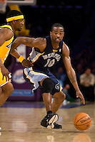 27 March 2007: Guard Junior Harrington of the Memphis Grizzlies dribbles the ball up the court against the Los Angeles Lakers during the first half of the Grizzlies 88-86 victory over the Lakers at the STAPLES Center in Los Angeles, CA.