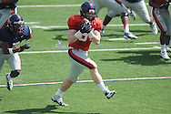 Jack Nuismer (84) makes a catch as Trae Elston (7) defends at Ole Miss football scrimmage at Vaught-Hemingway Stadium in Oxford, Miss. on Saturday, April 6, 2013.