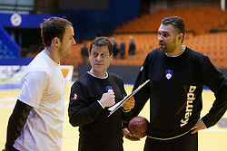 Uros Zorman of Slovenia, Bojan Cotar, assistant coach of Slovenia and Boris Denic, head coach of Slovenia during practice session of Slovenia National Handball team during Main Round of 10th EHF European Handball Championship Serbia 2012, on January 21, 2012 in Spens Sports Center, Novi Sad, Serbia. (Photo By Vid Ponikvar / Sportida.com)