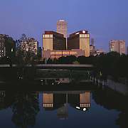 Omaha Nebraska USA skyline at dawn
