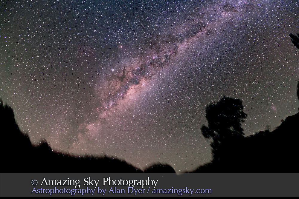 Centre of Milky Way rising. Taken with 15mm Canon full-frame fish-eye lens at f/4.5 and Hutech-modified Canon 5D for stack of 2 x 8 minute exposures at ISO 400. Taken from Coonabarabran, NSW, Australia, April 19, 2007. Jupiter is bright object at centre.