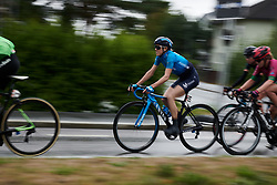 Rachel Neylan (AUS) with four local laps to go at Ladies Tour of Norway 2018 Stage 2, a 127.7 km road race from Fredrikstad to Sarpsborg, Norway on August 18, 2018. Photo by Sean Robinson/velofocus.com