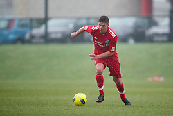 KIRKBY, ENGLAND - Friday, February 24, 2012: Liverpool's Kristoffer Peterson in action against Everton during the FA Premier League Academy match at the Kirkby Academy. (Pic by David Rawcliffe/Propaganda)