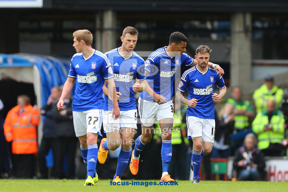 Paul Anderson of Ipswich Town (right) is congratulated by team mate, Tyrone Mings after scoring the equalising goal during the Sky Bet Championship play off semi final first leg at Portman Road, Ipswich<br /> Picture by Richard Calver/Focus Images Ltd +44 7792 981244<br /> 09/05/2015