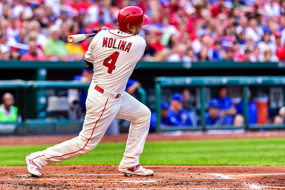 Molina grounds into a double play third to first, Peralta out at third.during a game between The Chicago Cubs and Saint Louis Cardinals at Busch Stadium in Saint Louis, Mo