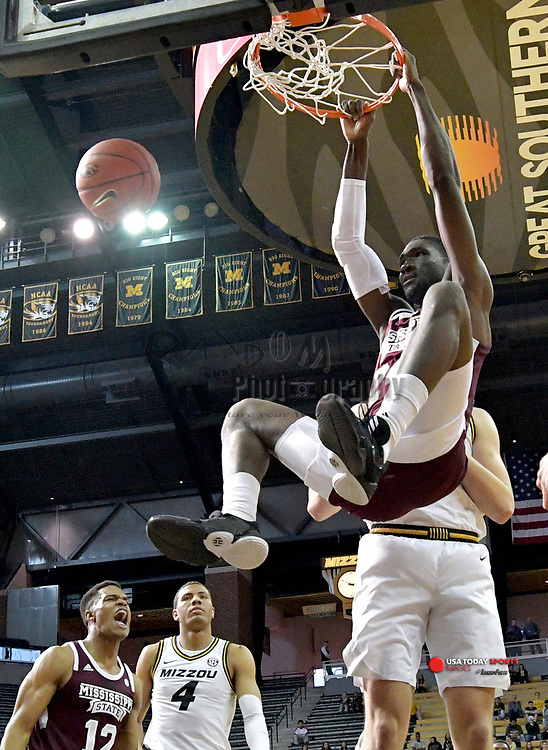 Feb 29, 2020; Columbia, Missouri, USA; Mississippi State Bulldogs forward Abdul Ado (24) dunks the ball during the first half against the Missouri Tigers at Mizzou Arena. Mandatory Credit: Denny Medley-USA TODAY Sports