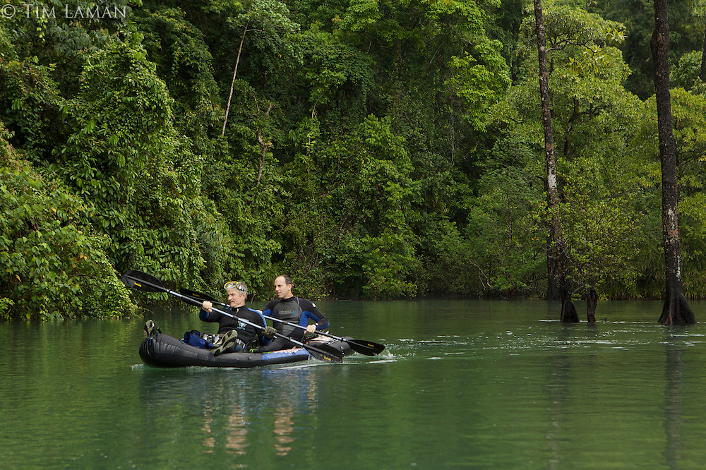 Mark Erdmann and Gerry Allen, marine biologists from Conservation International, use a kayak to access a river to explore for new fish species..Sebakor Bay, Fak Fak Peninsula.